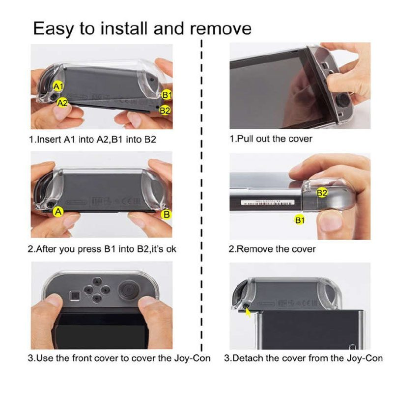 how to install Nintendo Switch Crystal Protective Case